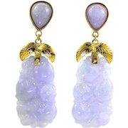 "GIA Certified Natural Purple Lavender Jadeite Jade Long Drop Dangle Earrings 14K Gold, 2-1/4"" L"