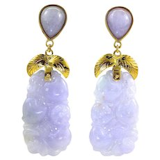 "GIA Certified Natural Purple Lavender Jadeite Jade Long Drop Dangle Earrings 14K Gold, 2-1/4"" L"