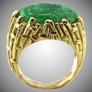 Natural Burmese Carved Jade 18K Gold Unisex Ring, Bamboo Pattern