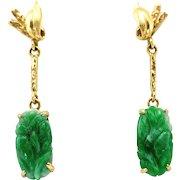 Vintage Natural Carved Jade Dangle Drop 14K Gold Earrings