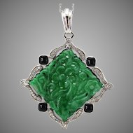Natural Carved Jadeite Jade Platinum Diamond Onyx Pendant, GIA Certified