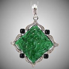 Natural Carved Jadeite Jade Platinum Diamond Onyx Pendant, GIA Certified