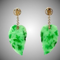 Natural Jade Drop 14K Gold Earrings of Speckled Spotted Translucent Green Jadeite
