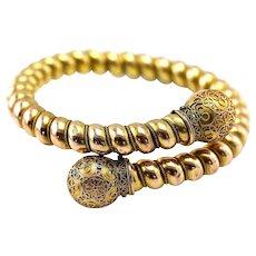 Antique Victorian Etruscan Revival Bypass Bangle Bracelet 14K Gold