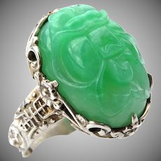 Antique Chinese Qing Dynasty Large Carved Natural Apple-Green Jadeite Jade Ring