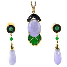 Natural Lavender Purple Green Jadeite Jade 14K Gold Set of Pendant and Dangle Earrings, GIA Certified
