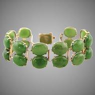 Vintage 14K Gold Natural Nephrite Jade Cabochon Double Layer Bracelet