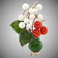 Vintage 14K Gold Carved Jade & Coral Flower Vase Pendant Brooch