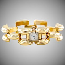 Vintage Retro 1940s 14K Gold Tank Link Wide Bracelet Watch, 69.29 Grams