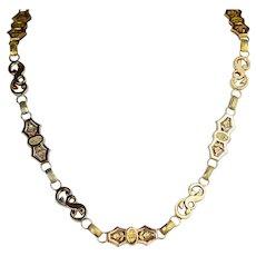 Antique Victorian Bicolor 14K Gold Link Chain Repousse Necklace
