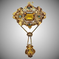 "Antique Victorian Filigree Citrine Emerald Stomacher Brooch Pendant 14K Gold, 3.5"" Long"