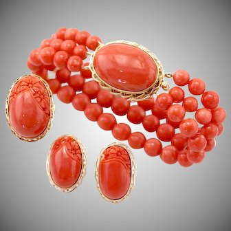 Vintage Demi Parure Natural Pacific Large Momo Red Salmon Coral 14K Gold Bracelet, Earrings, & Ring, GIA Certified