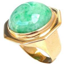 Vintage Natural Large Cabochon Jadeite Jade 14K Gold Octagonal Ring