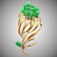 Vintage 14K Gold Natural Jadeite Jade Flower Brooch Pin