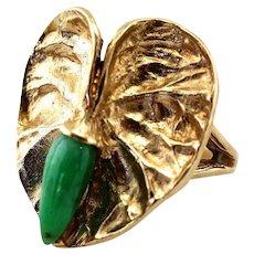 Vintage 14K Gold Anthurium Ring & Natural Jadeite Jade