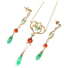 Jade & Coral Set of Necklace & Earrings 14K Gold