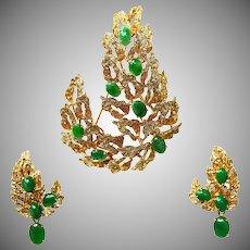 Modernist Jade Brooch & Earrings Set, 14K Gold