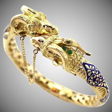 Vintage 18K Yellow Gold Ram's Head Cloisonné Enamel Hinged Bangle Bracelet