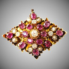 Antique Gold Ruby Diamond Seed Pearl Pendant Brooch