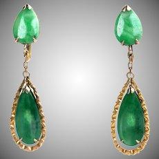 Vintage 14K Gold Natural Jadeite Jade Drop Dangle Earrings