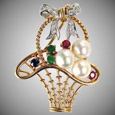 Vintage 18K Gold Diamond Gemstone Pearl Flower Basket Pin Pendant