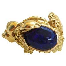 GIA Certified Natural Black Opal Heavy 18K Gold Ring Sealife Crusteacean Ocean Inspired, Unisex