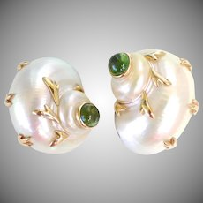 MAZ Natural Seashell 14K Gold Peridot Earrings