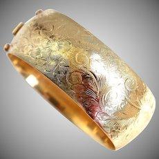 """Vintage 14K Gold 1"""" Wide Floral Etched Bangle, 42.80 Grams"""