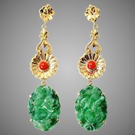 """Natural Carved Antique Jade in 14K Gold & Coral Drop Dangle Earrings, 2.75"""" Long"""