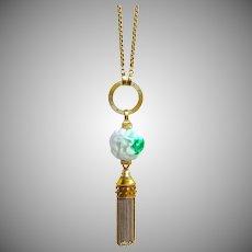 "36"" Long 14K Gold Necklace, Etruscan Revival Tassel & Jadeite Jade Moss-in-Snow Dragon Ball Pendant"