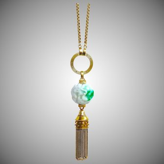 "36"" Long 14K Gold Necklace, Etruscan Revival Tassel & Jadeite Jade Moss-in-Snow Dragon Ball Pendant"