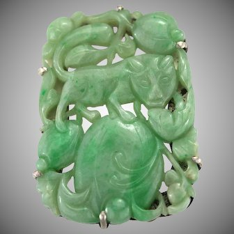 Antique Qing Dynasty Carved Natural Jadeite Jade Brooch Pendant Necklace, Silver