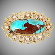 Antique Etruscan Revival Turquoise & Seed Pearl Brooch Pin 14K Gold