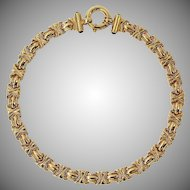 "Vintage Italian 14 Karat Gold Fancy Link Wide Collar 17"" Necklace, 46.58 Grams"