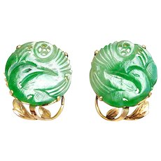 Antique Chinese 14K Gold Natural Jadeite Jade Earrings