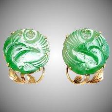 Antique Chinese 14K Gold Natural Jadeite Jade Earrings