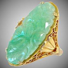 Art Deco Natural Carved Flower Jadeite Jade 14K Gold Ring