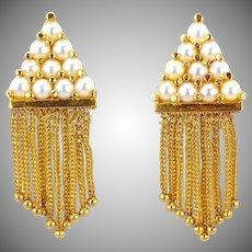 Vintage 14K Gold Pearl Fringe Tassel Drop Dangle Earrings
