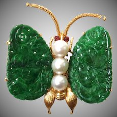 Antique 14K Gold Natural Jadeite Jade Pearl Butterfly Brooch