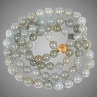 Vintage Translucent Natural Jadeite Jade Light Gray Bead Necklace 14K Gold