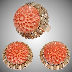Vintage 14K Rose Gold Carved Coral Flower Ring and Earring Suite