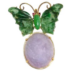 GIA Certified Purple Lavender & Green Jadeite Jade Butterfly 14K Gold Pendant Brooch