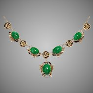 GIA Certified Natural Green Jadeite Jade Cabochon 14K Gold Foliate Necklace