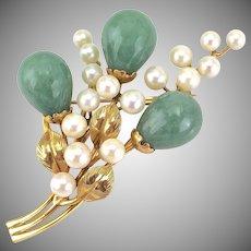 Vintage Ming's of Hawaii Jade Cultured Pearl 14K Gold Brooch, Signed