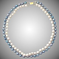 Vintage Ming's of Hawaii Creamy White & Blue Pearl 14K Gold Double Strand Necklace, Signed