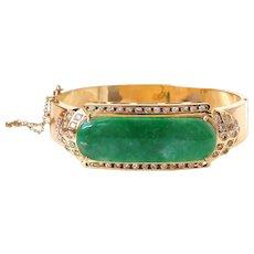 GIA Certified 13.76 Carat Jadeite Jade 18K & 1.50 Carat Diamond Bangle Bracelet