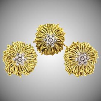 Vintage 18K Gold & Diamond Large Shaggy Tassel Fringe Earrings & Ring, 65 grams