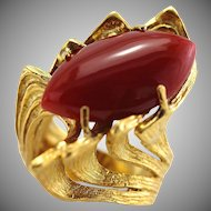 Mid-Century Modernist 18K Gold Large Natural Oxblood Coral Ring
