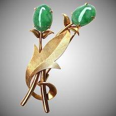 Vintage Natural Jadeite Jade 14K Gold Brooch Pin