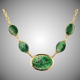 Natural Untreated Jadeite Jade Carved Floral Gold Necklace